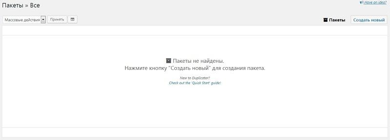 Начало создания копии сайта в плагине Duplicator