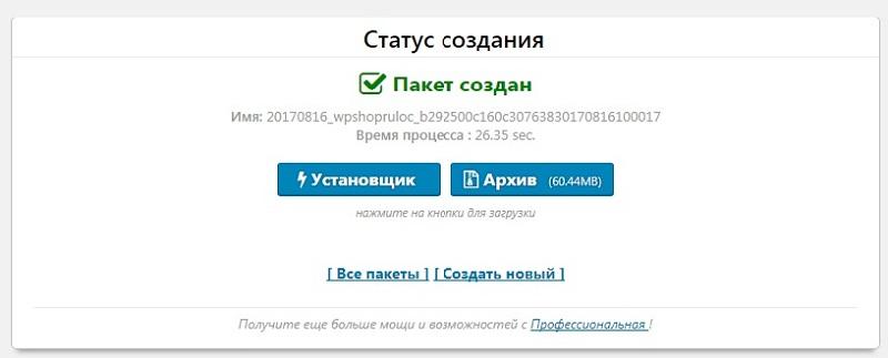 Сохранение созданной копии сайта в плагине Duplicator