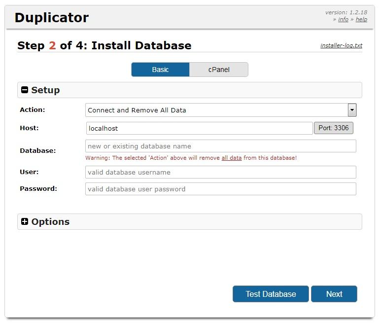 Настройка доступа к базе данных в плагине Duplicator