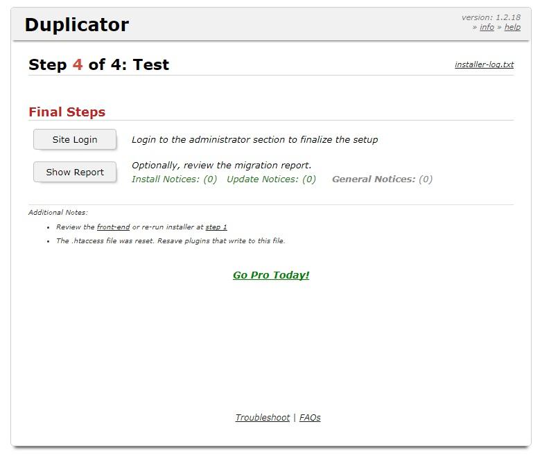 Переход на развернутый сайт в плагине Duplicator