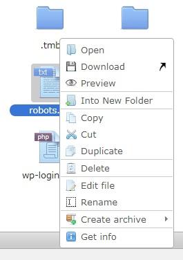 Выбор операции в файловом менеджере