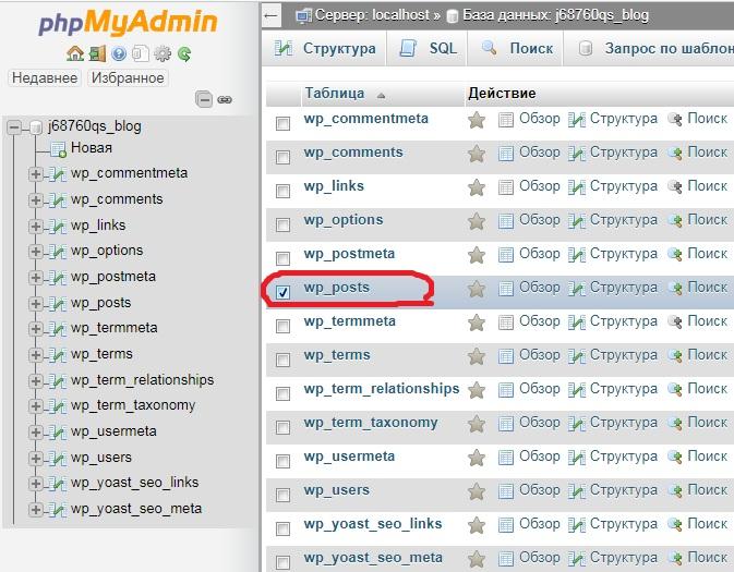 Графический интерфейс phpMyAdmin