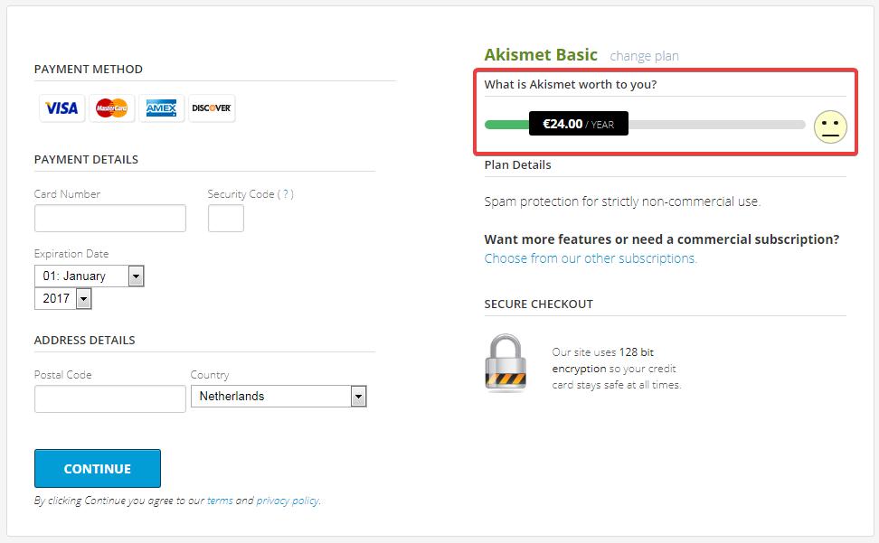 Страница оплаты на сайте Akismet