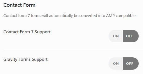 Страница Contact Form плагина AMP for WP