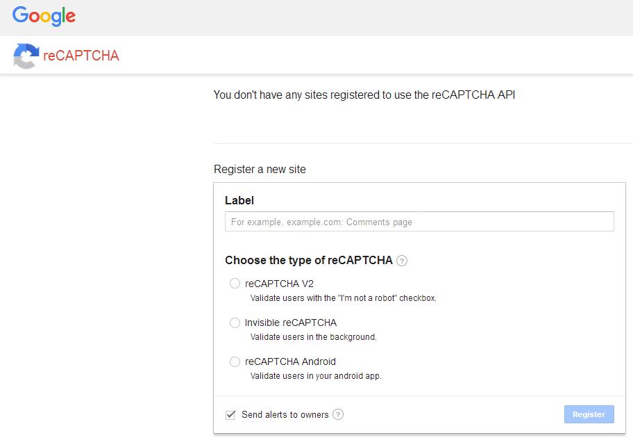 Оф. страница настройки reCAPTCHA