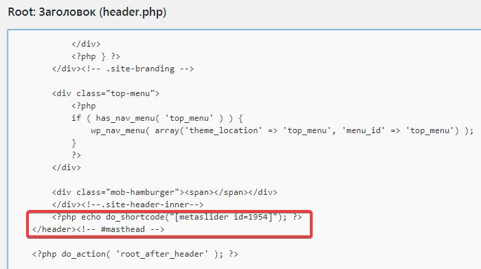 Вставка шорткода в header.php темы Root