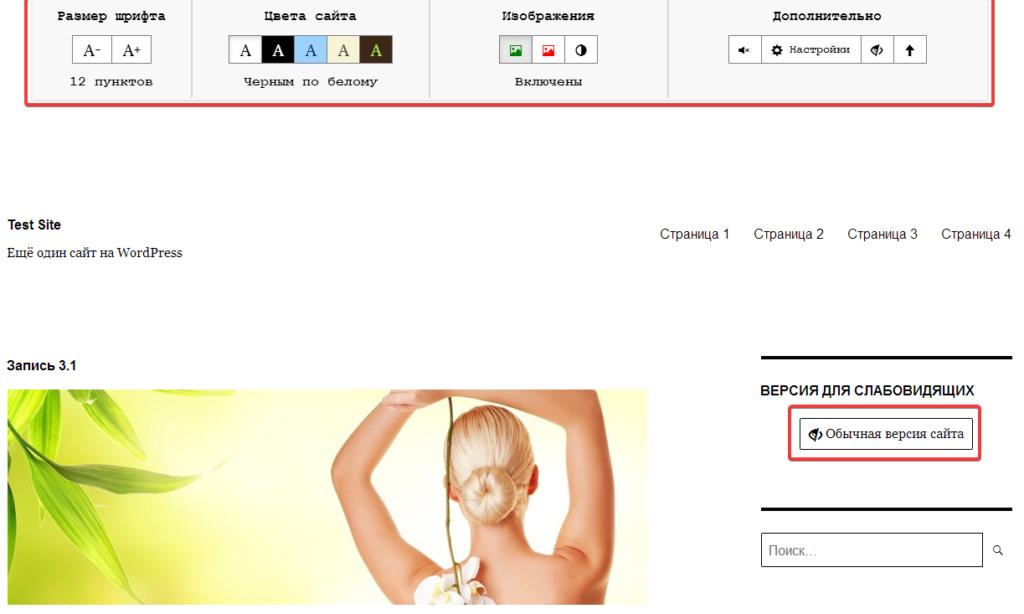 Панель настроек отображения сайта версии для слабовидящих