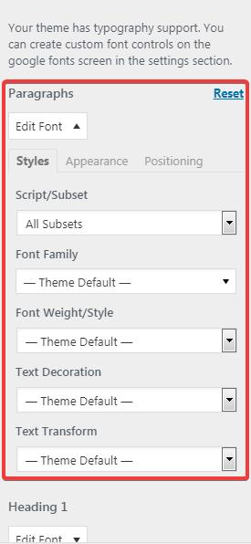 Страница настроек блока Default Typography