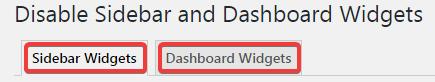 Вкладки виджетов в настройках плагина WP Widget Disable