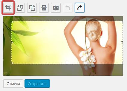 Обрезка фото в окне редактирования изображения