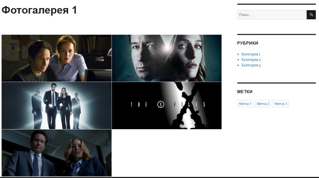 Страница сайта с фотогалереей
