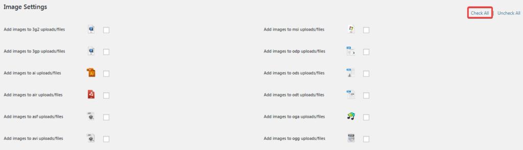 Страница настроек плагина MimeTypes Link Icons