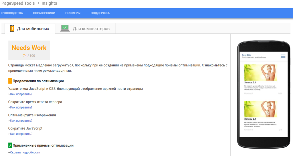 Страница Google PageSpeed Insights