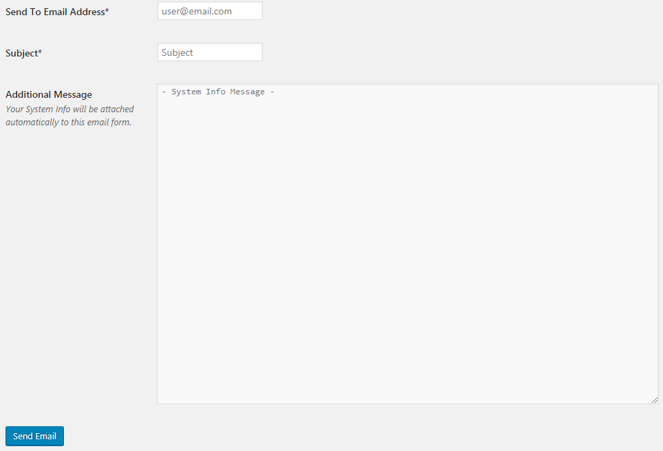 Вкладка Send as Email в окне настроек плагина Send System Info