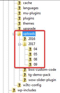 Структура каталога /wp-content/uploads/