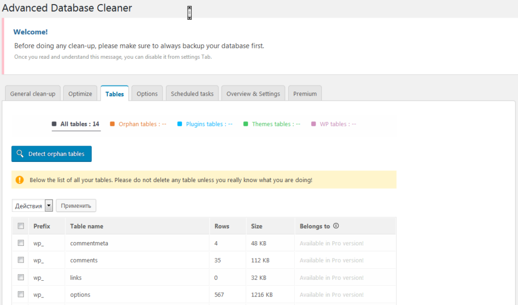 Страница настроек плагина Advanced Database Cleaner