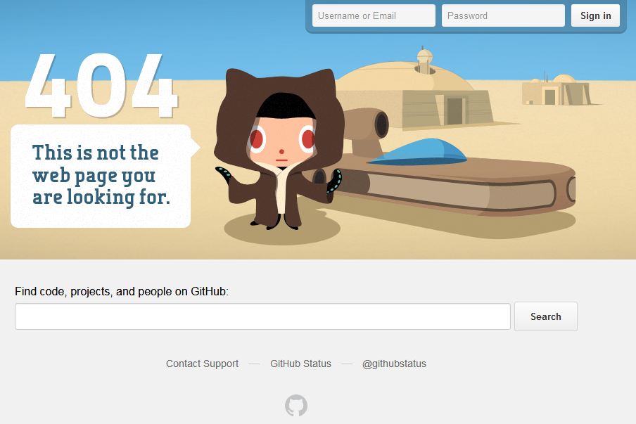 Страница ошибки 404 на сайте github.com