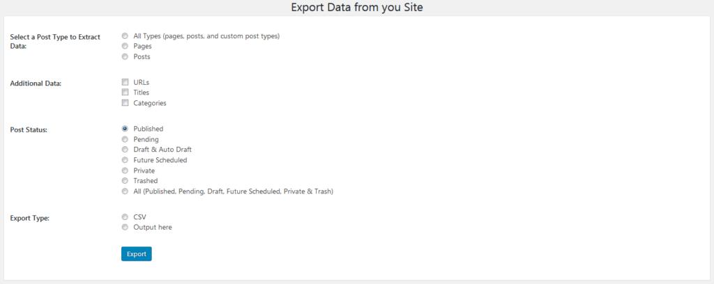 Страница настроек плагина Export All URLs