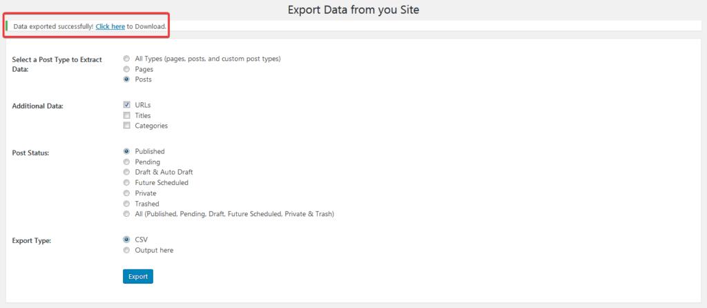 Экспорт в CSV-файл всех URL в плагине Export All URLs