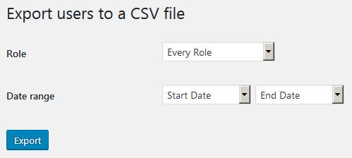 Страница настроек плагина Export Users to CSV