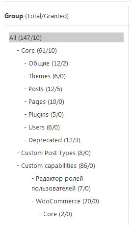 Список групп операций в плагине User Role Editor