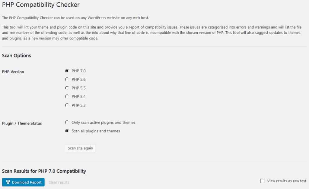 Страница настройки плагина PHP Compatibility Checker