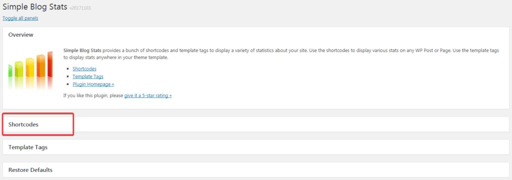Страница настроек плагина Simple Blog Stats