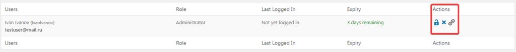 Список временных логинов в плагине Temporary Login Without Password