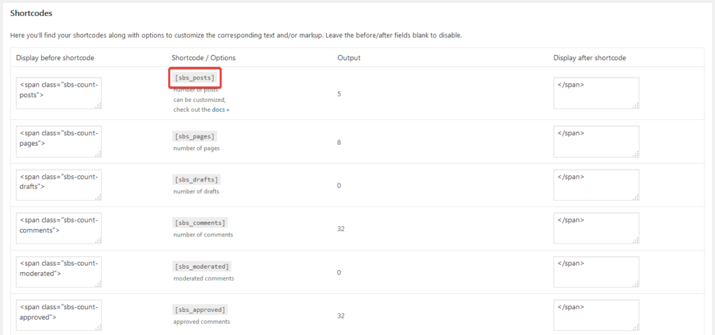 Блок Shortcodes на странице настроек плагина Simple Blog Stats