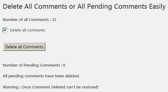 Страница настроек плагина Delete All Comments Easily