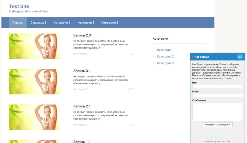 Главная страница сайта с онлайн чатом плагина Chat – Live Chat, Support, Sales