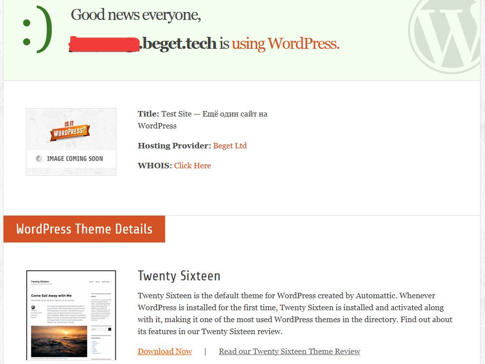 Страница онлайн-сервиса isitwp.com