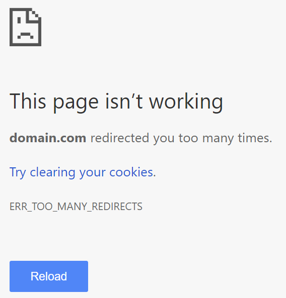Ошибка ERR_TOO_MANY_REDIRECTS