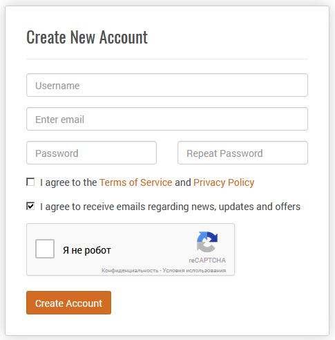 Страница регистрации на сайте openweathermap.org