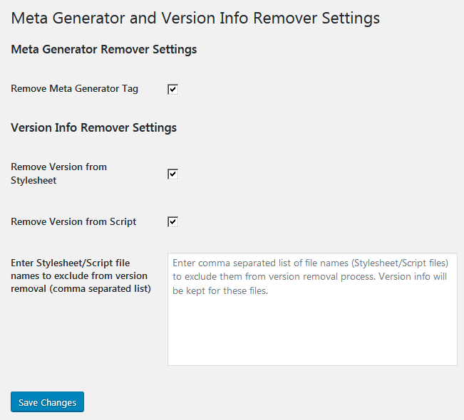 Страница настроек плагина Meta Generator and Version Info Remover Settings