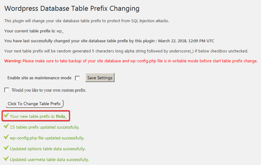 Выбор имени префикса в плагине Change Table Prefix