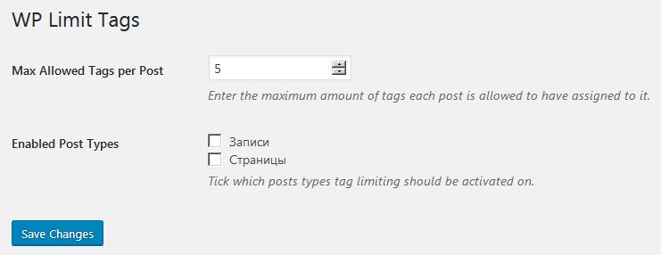Страница настроек плагина WP Limit Tags