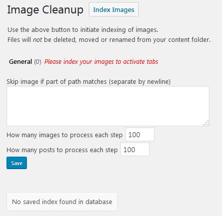 Страница настроек плагина Image Cleanup