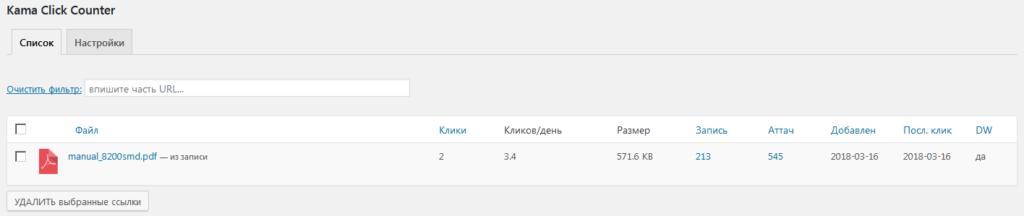 Страница настроек плагина Kama Click Counter