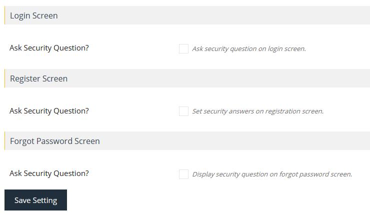 Страница настроек плагина WP Security Question
