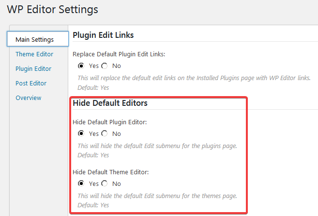 Вкладка Main Settings на странице настроек плагина WP Editor
