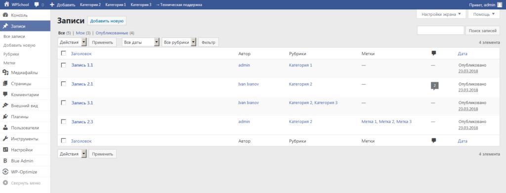 Измененная с помощью плагина Blue Admin админ-панель WordPress