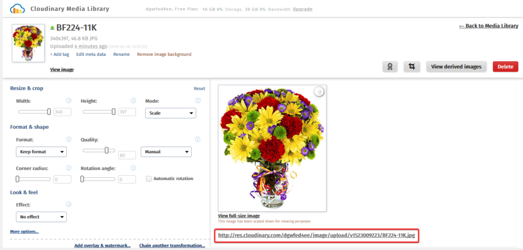 Редактор изображений в плагине Cloudinary – Image management and manipulation in the cloud + CDN