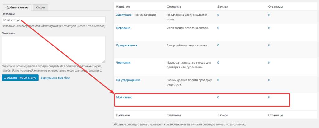 Страница создания/редактирования статусов публикации записей в плагине Edit Flow