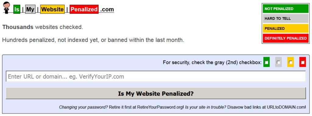 Главная страница сайта https://ismywebsitepenalized.com/