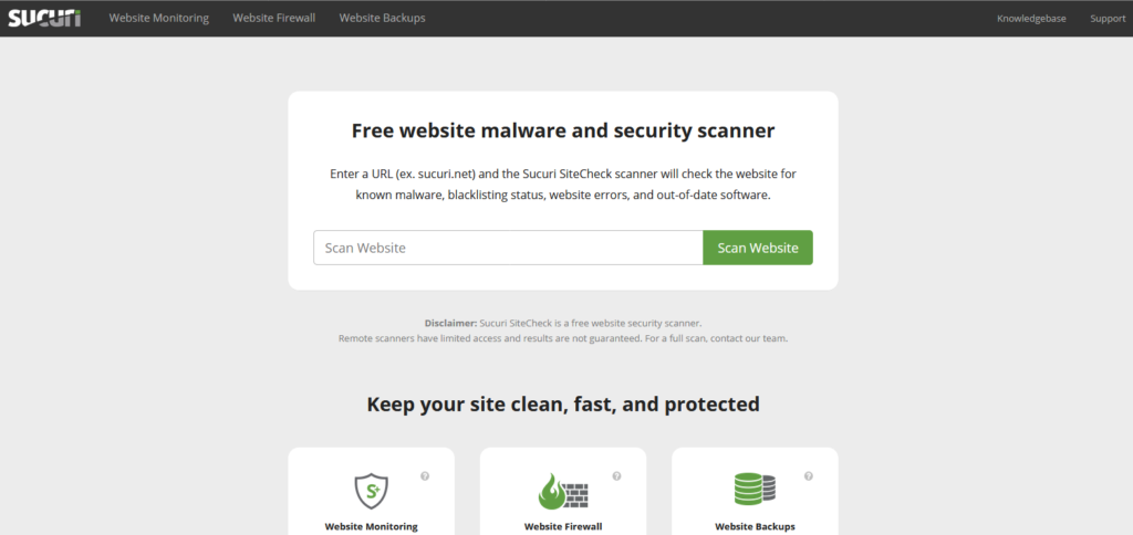 Главная страница сайта https://sitecheck.sucuri.net/