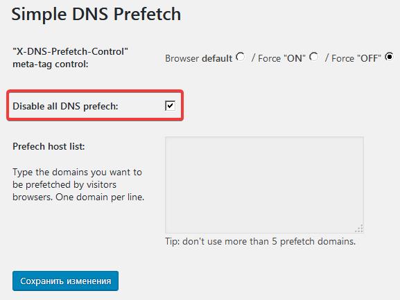 Страница настроек плагина Simple DNS Prefetch