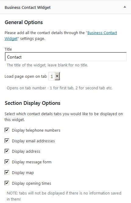 Настройка виджета Business Contact Widget