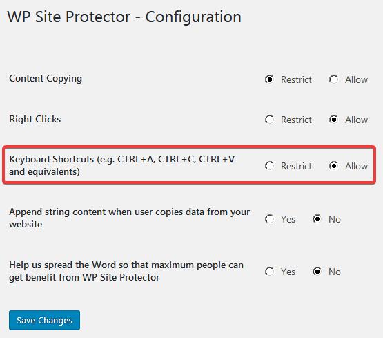 Страница настроек плагина WP Site Protector