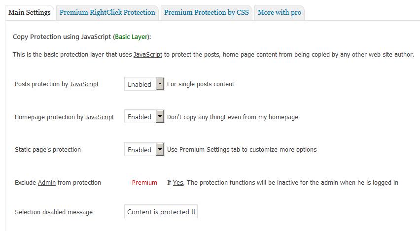 Страница настроек плагина WP Content Copy Protection